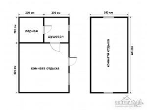 Каркасные бани 6 на 4 (2 этажа)