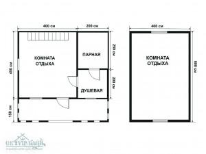 Каркасные бани 6 на 6 (2 этажа)